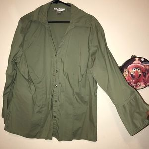 Olive uptown button down plus size green shirt
